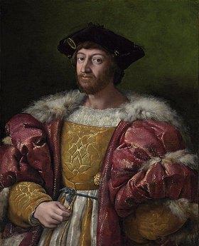 Raffael (Raffaello Sanzio): Portrait des Lorenzo de Medici, Herzog von Urbino, Dreiviertelansicht, eine Goldmünze haltend