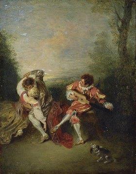 Jean Antoine Watteau: La Surprise: Ein sich umarmendes Paar und ein Guitarre spielender Mezzetin
