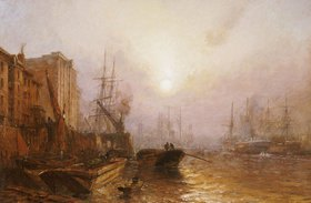 Claude T. Stanfield Moore: Der 'Pool of London' am Abend