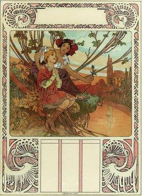 Alfons Mucha: Chocolat Masson / Chocolat Mexicain. Gedruckt bei F. Champenois, Paris
