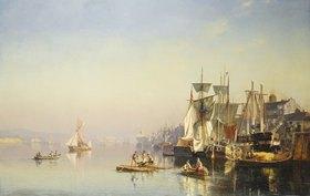 Carl Neumann: Fischerboote und Kähne auf der Themse bei Greenwich