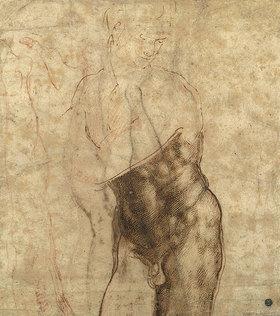 Michelangelo: Auferstandener Christus, dreiviertel Akt nach rechts unten schauend