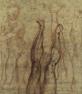 Michelangelo: Auferstandener Christus, ein dreiviertel Akt über Studien eines Beines und Fusses