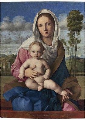 Giovanni Bellini: Madonna mit Kind in einer Landschaft