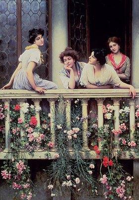 Eugen von Blaas: Auf dem Balkon