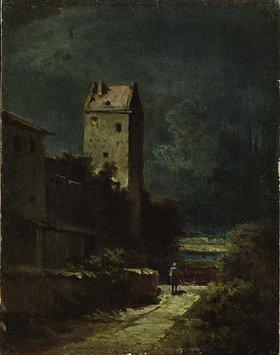 Carl Spitzweg: Nächtliche Landschaft mit Nachtwächter