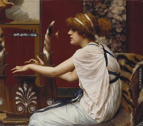 John William Godward: Die Muse Erato beim Lyraspiel