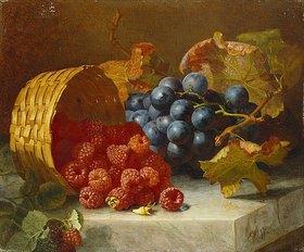 Eloise Harriet Stannard: Stilleben mit Himbeeren und Weintrauben auf einer Marmorplatte