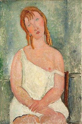 Amadeo Modigliani: Junges Mädchen in einem weißen Hemd