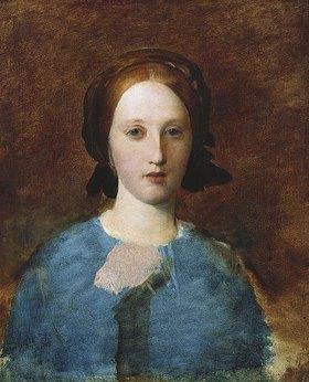 George Frederick Watts: Portrait von Mrs Prescott Decie in einem blauen Kleid (Skizze)