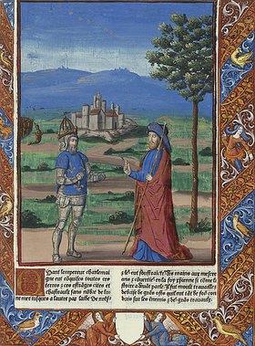 Handschrift: Karl dem Großen erscheint der Heilige Jakobus (aus: Chroniques de France)