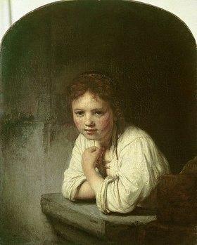 Rembrandt van Rijn: Mädchen, sich auf eine Fensterbrüstung lehnend