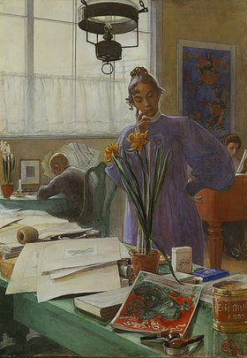 Carl Larsson: Meine Ehefrau (Karin im Atelier)