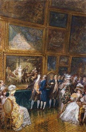 Joseph Navlet: Greuze und Diderot besuchen den Salon von
