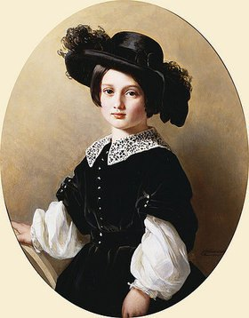 Franz Xaver Winterhalter: Portrait eines Mädchens im Samtkleid und Hut