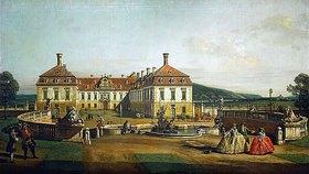 Bernardo (Canaletto) Bellotto: Das kaiserliche Lustschloß Schloßhof, Ehrenhofseite