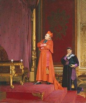 Jehan Georges Vibert: Ein Kardinal betrachtet Napoleons Thron