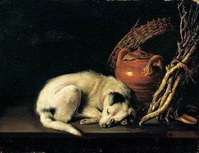 Gerrit (Gerard) Dou: Ein schlafender Hund neben einem Terrakottakrug, einem Korb, einem Paar Clogs und Zündholz