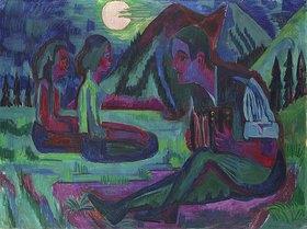 Ernst Ludwig Kirchner: Handorgler in Mondnacht