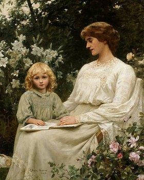 Edwin Harris: Mutter und Tochter beim Lesen eines Buches