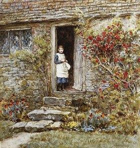 Helen Allingham: Mädchen in der Tür eines Bauernhauses