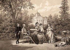 Vinzenz Katzler: Kaiser Franz Joseph I. und Kaiserin Elisabeth mit ihren Kindern Kronprinz Rudolf, Marie Valerie und Gisela im Schloßpark von Gödöllö, Ungarn