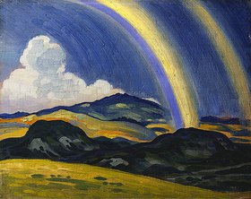 Derwent Lees: Der Regenbogen, Landschaft in Wales