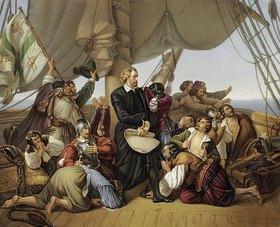 Unbekannter Künstler: Christopher Kolumbus auf seinem Schiff