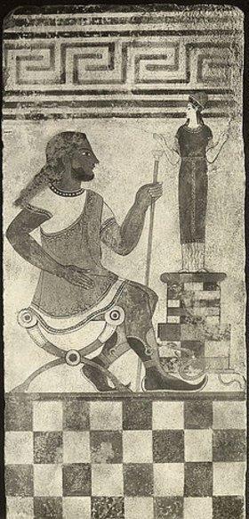 Etruskisch: Bemalte Terrakotta-Platte mit Figuren aus Cerveteri