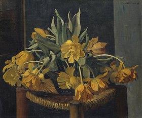 Felix Vallotton: Gelbe Tulpen auf einem Korbstuhl