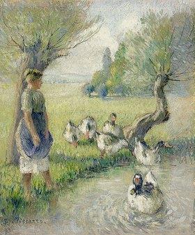 Camille Pissarro: Die Gänsehirtin (Der Ententeich)