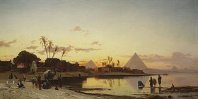 Hermann David Salomon Corrodi: Sonnenuntergang am Nil, Kairo