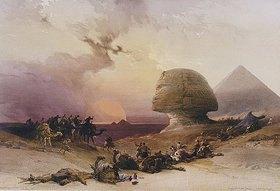 David Roberts: Beginnender Sturm in der Wüste bei den Pyramiden von Gizeh
