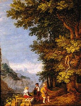 Roelant Jakobsz Savery: Gebirgslandschaft mit einer Obstverkäuferin