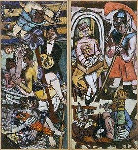 Max Beckmann: Triptychon (Linke und rechte Tafel): Die Akrobaten. 1939 (siehe auch Bildnummer 15783)