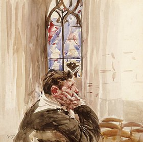 Giovanni Boldini: Bildnis eines Mann in der Kirche