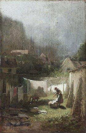 Carl Spitzweg: Beim Wäsche aufhängen