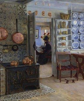 Adolf Heinrich Hansen: Lesende Frau, Blick durch die Küchentür