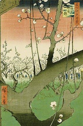 Utagawa Hiroshige: Garten mit Pflaumenbäumen. Aus der Serie: Hundert Ansichten von berühmten Orten in Edo
