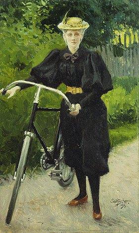 Paul Fischer: Eine Dame mit Fahrrad
