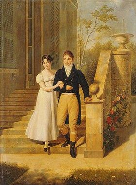 Anthelme Francois Lagrenée: Ein vornehmes Paar auf den Stufen eines Schlosses