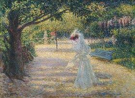 Enrico Lionne (della Leonessa): Eine elegante Dame im Garten der Villa Borghese