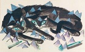 Franz Marc: Zwei liegende schwarze Katzen