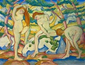 Franz Marc: Badende Mädchen. 1910