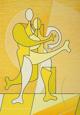 Ludwig Gebhard: Paar in gelb, pas de deux