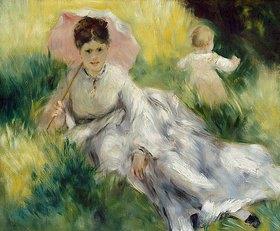 Auguste Renoir: Dame mit Sonnenschirm und Kleinkind auf einem sonnenbeschienenen Hügel