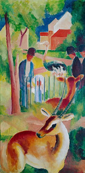 August Macke: Großer Zoologischer Garten. 1913 (rechte Tafel des Triptychons)