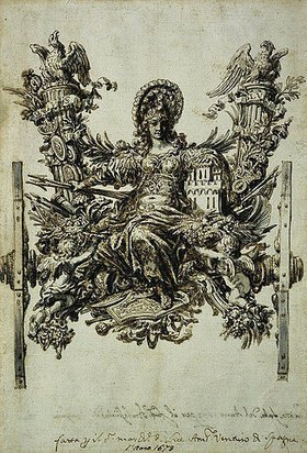 Johann Paul Schor: Entwurf für den Triumphwagen für den Einzug von Don Gaspar Mndez de Haro, Marqus del Carpio und de Helliche als spanischer Botschafter in Rom 1673: Allegorische weibliche Figur, die die Rüstung von Kastilien hält und flankiert ist von den Habsburger Insignien
