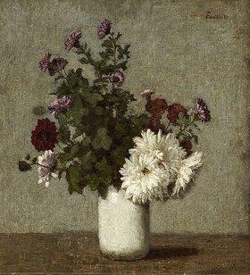Henri de Fantin-Latour: Stilleben mit Herbstchrysanthemen in einer weißen Vase