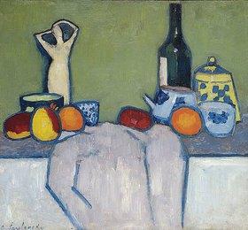 Alexej von Jawlensky: Stillleben mit Früchten, Figur und Flasche